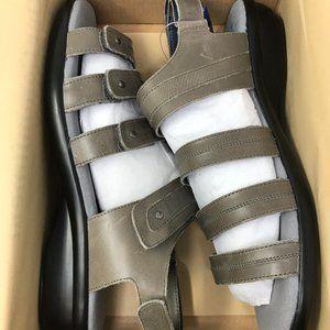 Propet Women's Aurora Wedge Sandal, Grey, 11 M US